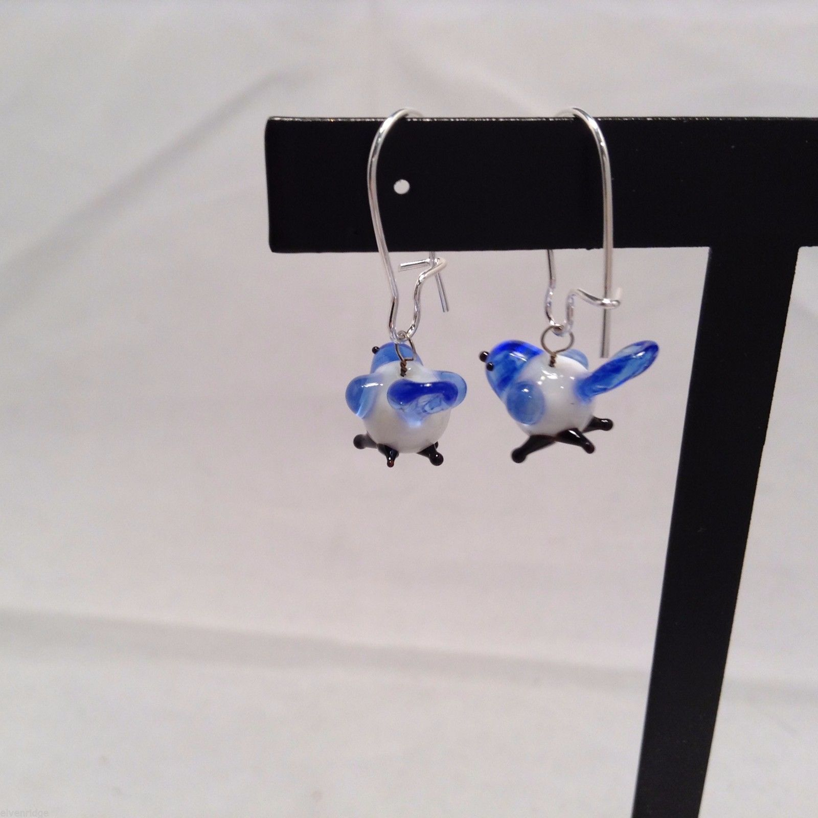 Miniature small hand blown glass made USA NIB blue and white bird earrings