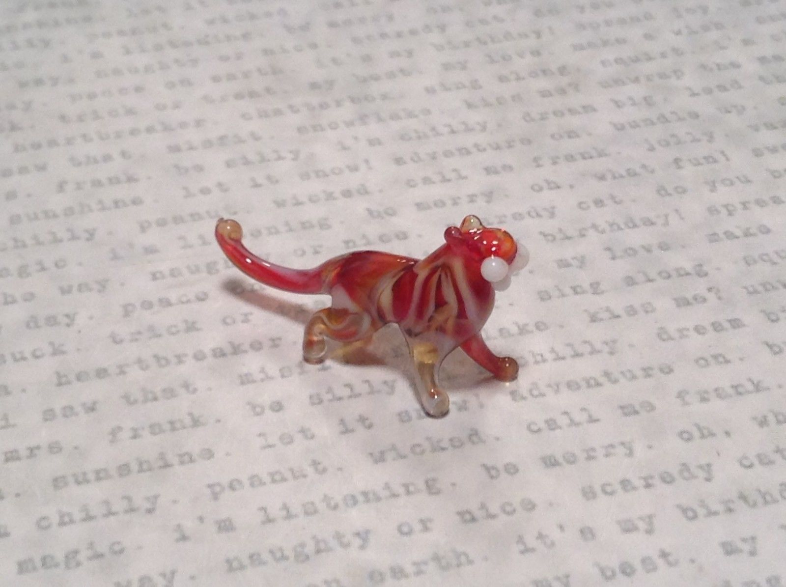 Miniature small hand blown glass red white big tiger cat made USA NIB