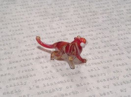 Miniature small hand blown glass red white big tiger cat made USA NIB image 1
