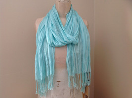 Mint Green Scrunched Style Tasseled Scarf by Look Tag Attached Length 65 Inches