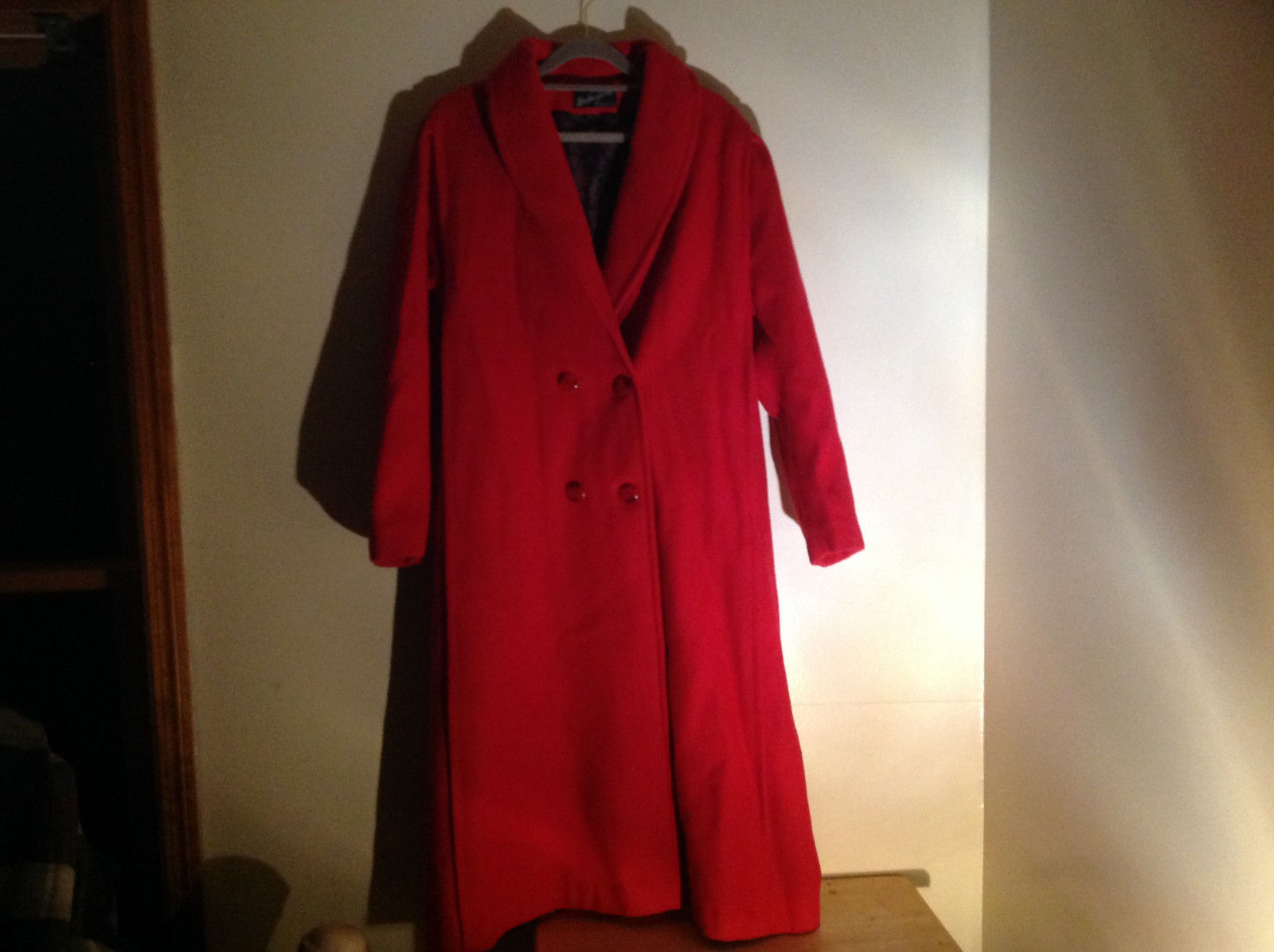 Miss New Yorker Full Length Red Double Breasted Peacoat Front Pockets Size S/M