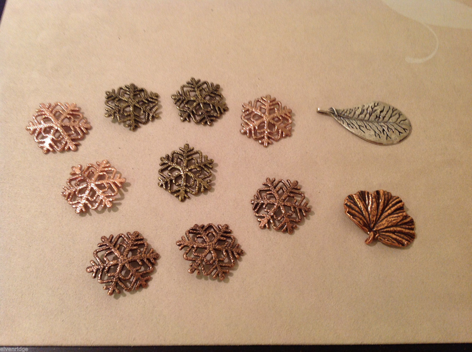 Mix Lot 9 Snowflakes 2 Leaves Gold Copper Colored Decoration Ornament or pendant