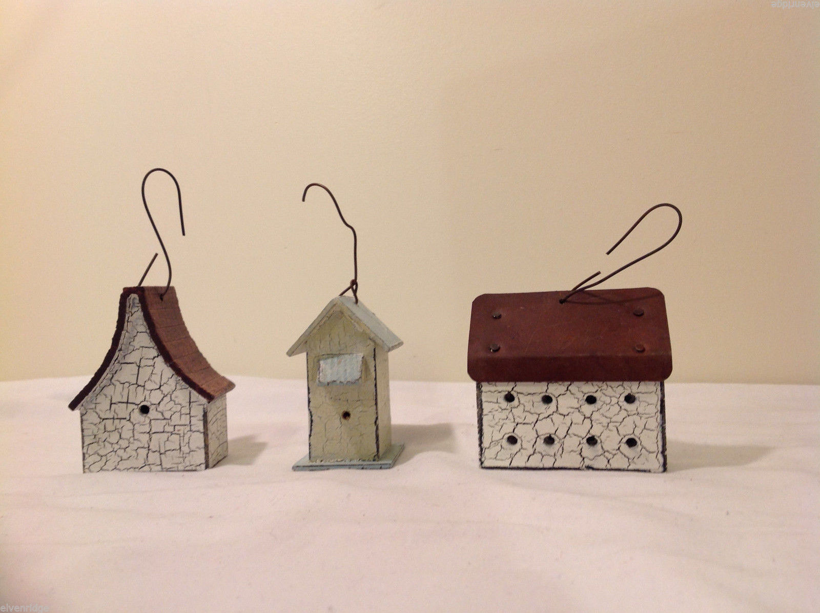 Mixed Lot of 3 Vintage Look Rustic Hand Made Wooden Birdhouse Ornaments