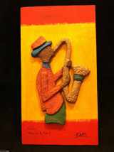 Jamaican Eco Friendly Painting of Saxophone Player Signed E. Dain Mcleod image 2