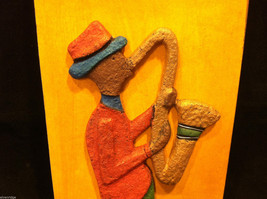 Jamaican Eco Friendly Painting of Saxophone Player Signed E. Dain Mcleod image 4