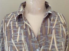Jaipur Pale Purple Tan Paintbrush Design Button Up V Neckline Shirt Size Medium image 3