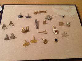 Mix Lot of 5 sets and 12 misc. Vintage Cufflinks, different shapes and sizes