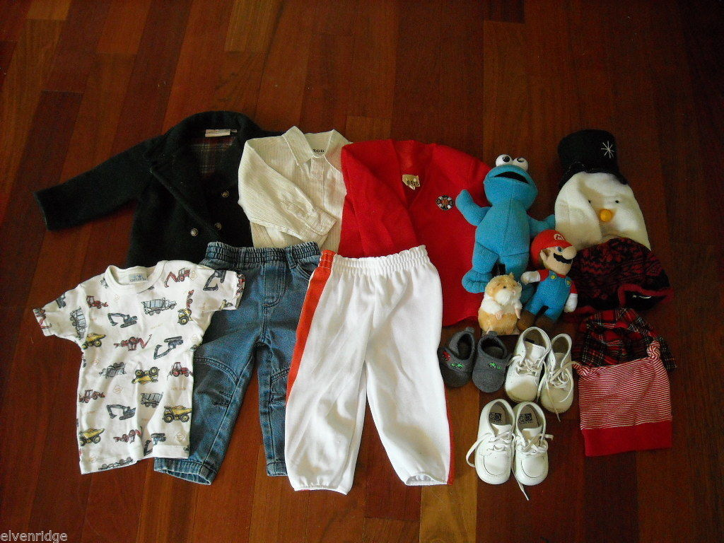 Mixed lot 16 Toddler Boys Clothes Shirts Jacket Pants Hats Shoes Toys 0-3m 3-4T