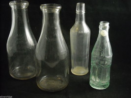 Mixed lot of 4 clear glass bottles Maine Seal Atlantic Pacific Tea Wolk Bros