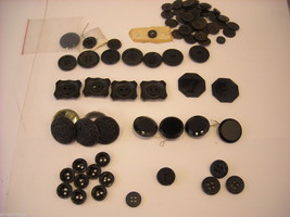 Mixed lot of black vintage buttons anchor octagonal and more