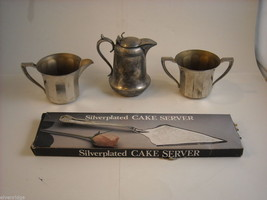Mixed lot silverplate cake server small pitcher cream sugar set New Amsterdam image 1