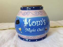 Moms Night Out Jar Bella Casa Ganz Wine Cork Lid Blue and Pink with Wine Glass image 1