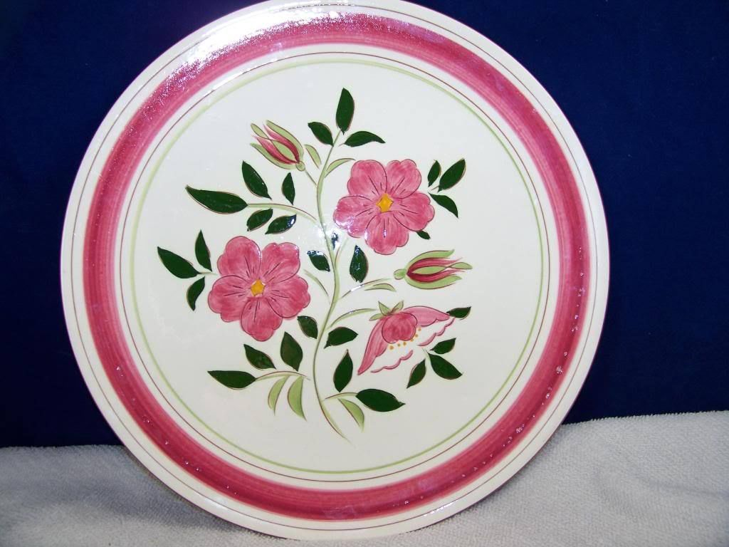 "Large STANGL pottery wild rose serving dish plate 12"" D"