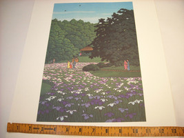 Japanese Color Woodblock Reprint 1951 Iris Garden at Meiji Shrine image 6