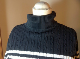 Jeanne Pierre black white striped long sleeve  sweater turtleneck size L image 2