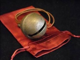 Large unrestored sleigh bell unnumbered w red satin bag