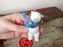 Miniature white ceramic bear w knit scarf color choice dept 56 new image 1
