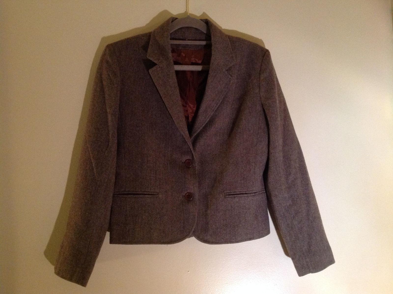 Larry Levine Brown Herringbone 2 Button Up Blazer Front Pockets Size S/M