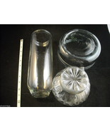 Mixed lot of 3 clear glass items Pyrex Olivaxine vase from Syracuse Ligh... - $197.01