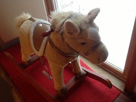 Adorable Brown Rocking Horse with Saddle Stirrups Neighs when ear is squeezed image 2