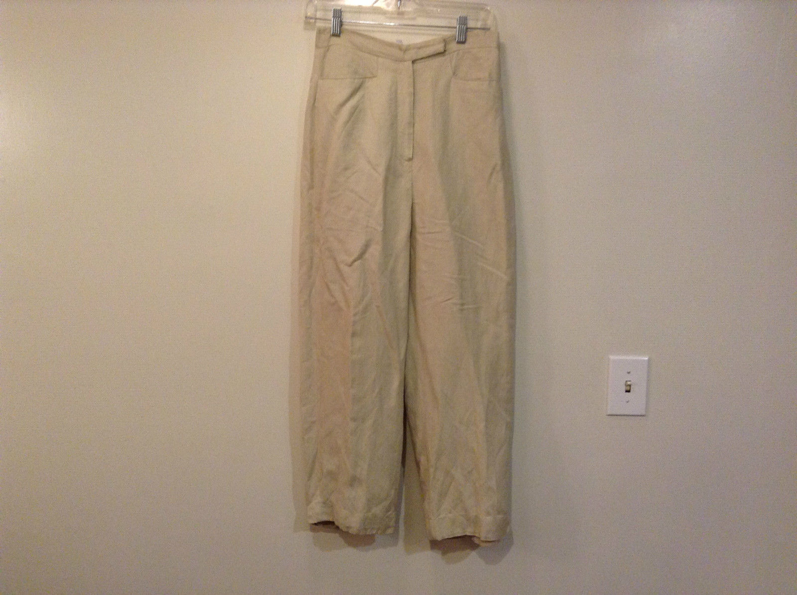 Larry Levine Petite Sport Size 8P Tan Casual Pants Button and Zipper Closure