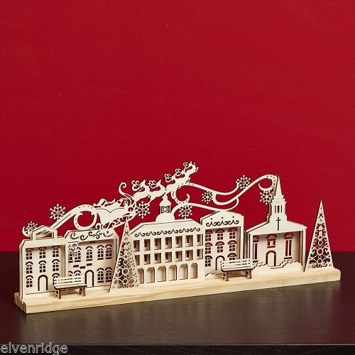 Laser Wood Centerpiece Flourish Village Santa  Scene Centerpiece Mantel piece