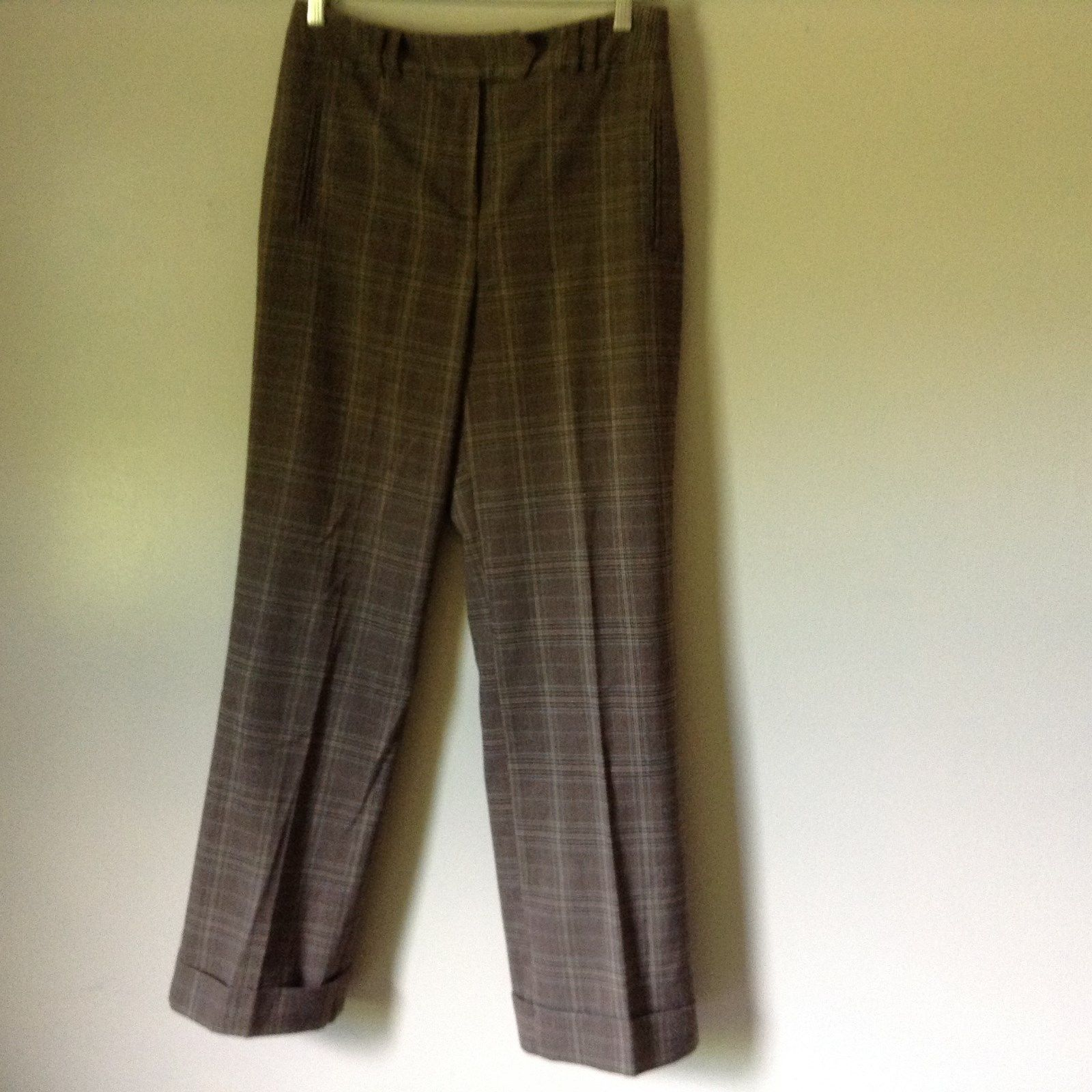 Larry Levine Stretch Casual Pants Size 10 Plaid Brown Tan Green