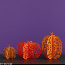 Laser Wood Centerpiece Flourish Set  of  Three Pumpkins  Centerpiece