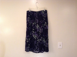 Jessica Stevens Skirt Black with Leaves Pattern Elastic Waist Size 2X image 2