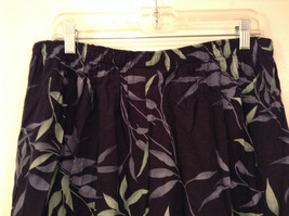Jessica Stevens Skirt Black with Leaves Pattern Elastic Waist Size 2X image 6