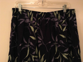 Jessica Stevens Skirt Black with Leaves Pattern Elastic Waist Size 2X image 3