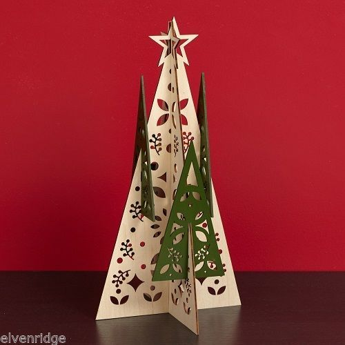 Laser Wood Centerpiece Flourish Woodlands  holiday Christmas Trees
