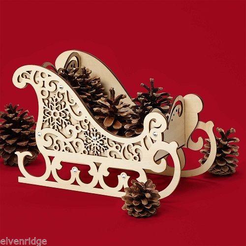 Laser Wood Centerpiece Flourish Winter  SLEIGH   Centerpiece