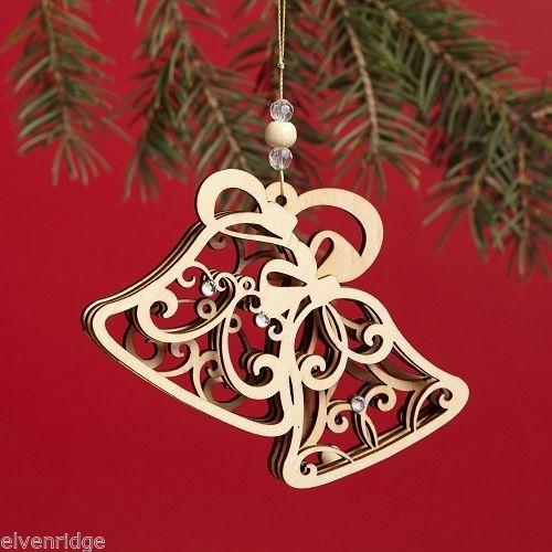 Laser Wood Ornament Flourish  Bells
