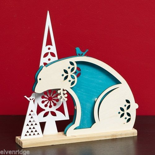 Laser Wood Centerpiece Flourish Woodlands Blue Polar Bear  Centerpiece