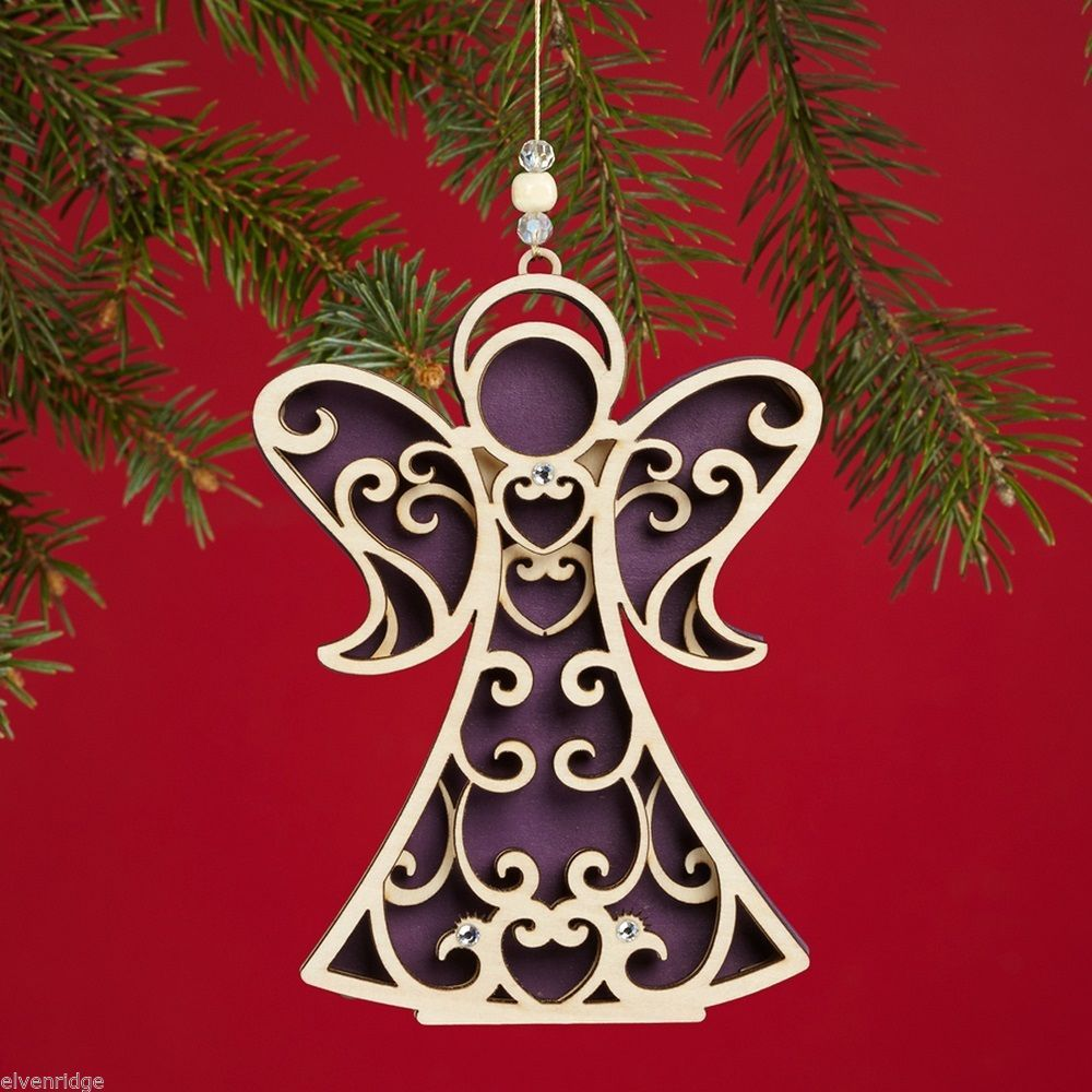 Laser Wood Ornament Flourish  Angel