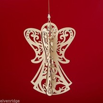 Laser Wood Ornament Flourish Hanging Slotted Angel