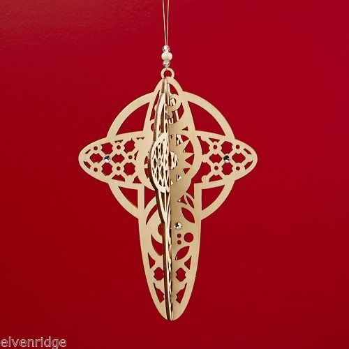 Laser Wood Ornament Flourish Hanging Slotted Cross