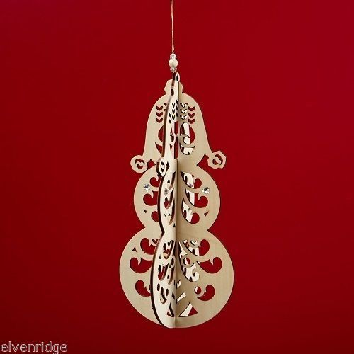 Laser Wood Ornament Flourish Hanging Slotted Snowman