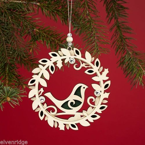 Laser Wood Ornament Flourish Three Layer Wreath with Bird