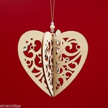 Laser Wood Ornament Flourish Hanging Slotted Heart