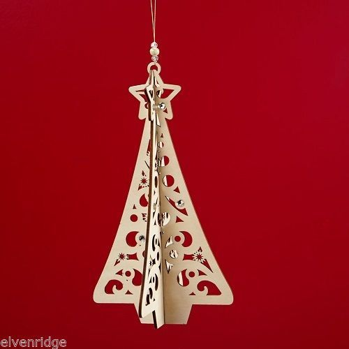 Laser Wood Ornament Flourish Hanging Slotted Holiday Christmas Tree