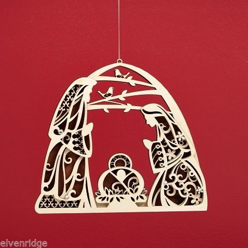Laser Wood Ornament Flourish Large   Nativity
