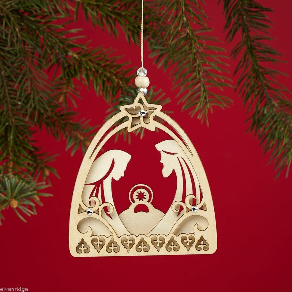 Laser Wood Ornament Flourish Small Nativity