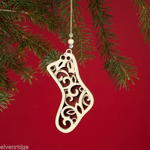 Laser Wood Ornament Flourish Hanging Stocking
