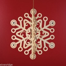 Laser Wood Ornament Flourish Large Slotted Snowflake with Crystals
