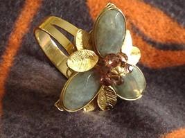 Adjustable Labradorite Stone Flower Ring Prudence C art for your finger image 2