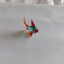 Micro Miniature small hand blown glass aqua and red tropical fish made USA NIB image 2