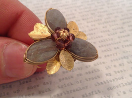 Adjustable Labradorite Stone Flower Ring Prudence C art for your finger image 3