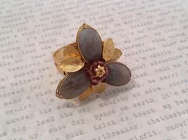 Adjustable Labradorite Stone Flower Ring Prudence C art for your finger image 4